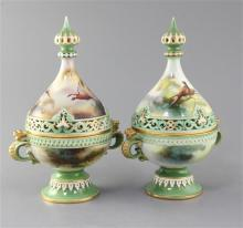 Two Hadley ware tear drop shaped pot pourri, covers and inner covers, c.1900, 25cm