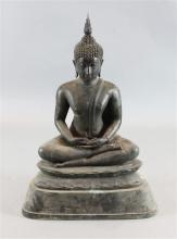 A large Thai bronze seated figure of Buddha, possibly 19th century, height 98cm