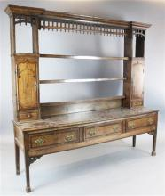 A George III mahogany banded oak dresser, W.6ft 10in. D.1ft 8in. H.6ft 5in.