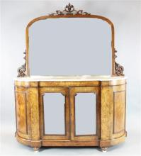 A Victorian marquetry inlaid figured walnut credenza, W.5ft 6in. D.1ft 6in. H.6ft 11in.