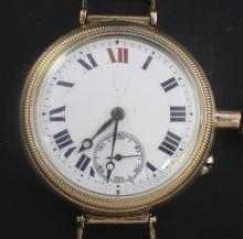 A 9ct gold WWI trench wristwatch, with enamelled dial and 17-jewel Swiss movement, Francois Borgel (screw case patented 1891),