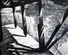 § Christopher Richard Wynne Nevinson (1889-1946) Aerial view (from a Paris Plane) 17 x 20.5in.