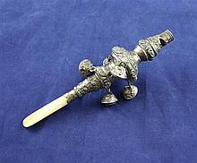 A William IV silver child's rattle, 5.5in.