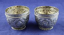 A pair of late 19th century Hanau 800 standard silver tumbler cups, 6 oz.