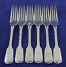 A set of six Victorian silver fiddle pattern dessert forks, 9.5 oz.