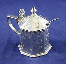 A Victorian silver octagonal mustard pot, height 3.25in.