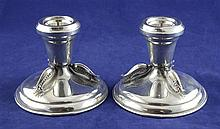 A stylish pair of mid 20th century Canadian sterling silver dwarf candlesticks by Carl Poul Petersen, 9.5 oz.