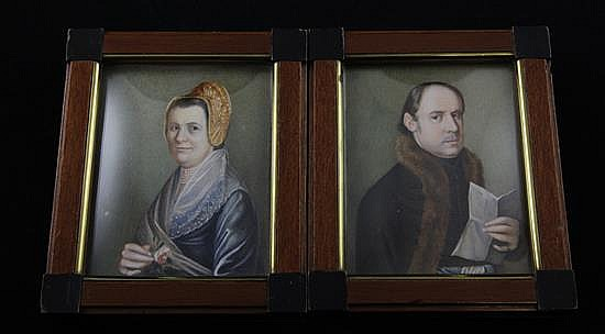 Auguste Alexius Canzi (1808-1864) Miniatures of a lady and gentleman, 4 x 3in.
