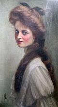 Edith Fortunee Tita De Lisle (1866-1911) Portrait of a young lady, 19.5 x 11.5in.