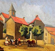 Elizabeth Campbell Fisher-Clay (American 1871-1959) Figures and bull in a Pyrenean village, 1947, 11 x 12.75in.