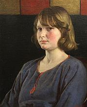 Harold Knight, R.A., R.O.I., R.P. (1874-1961) Portrait of a girl wearing a blue dress, 24 x 20in.