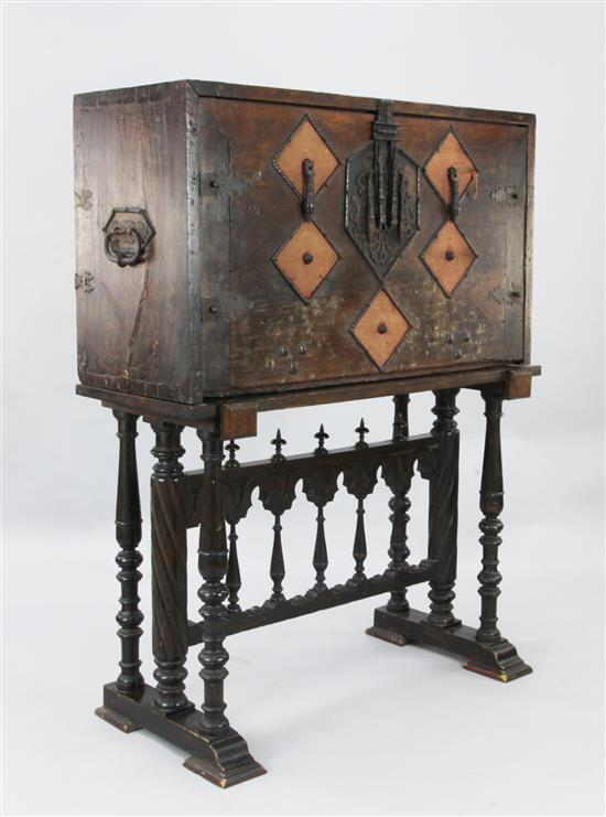 A late 16th/early 17th century Spanish walnut Vargueno, W.3ft 8in. D.1ft 7in. H.4ft 9in.