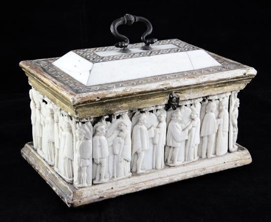 A Venetian bone and intarsia inlaid casket, 15th century, length 7.5in., height 6.25in. with handle, possible later alterations