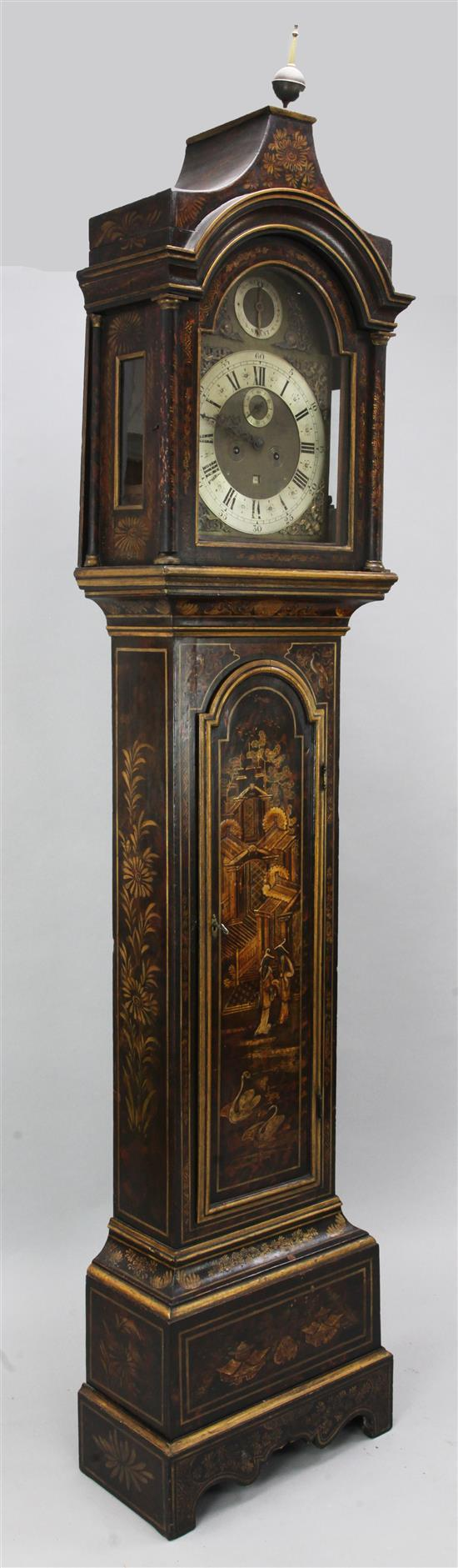 An early 18th century chinoiserie lacquered eight day longcase clock, 7ft 6in.