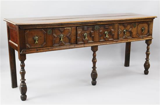 An early 18th century oak dresser base, W.6ft 3in. D.1ft 10in. H.2ft 9in.