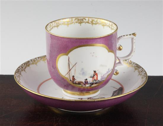 A Meissen coffee cup and saucer, c.1730, height 6.6cm, cup restored