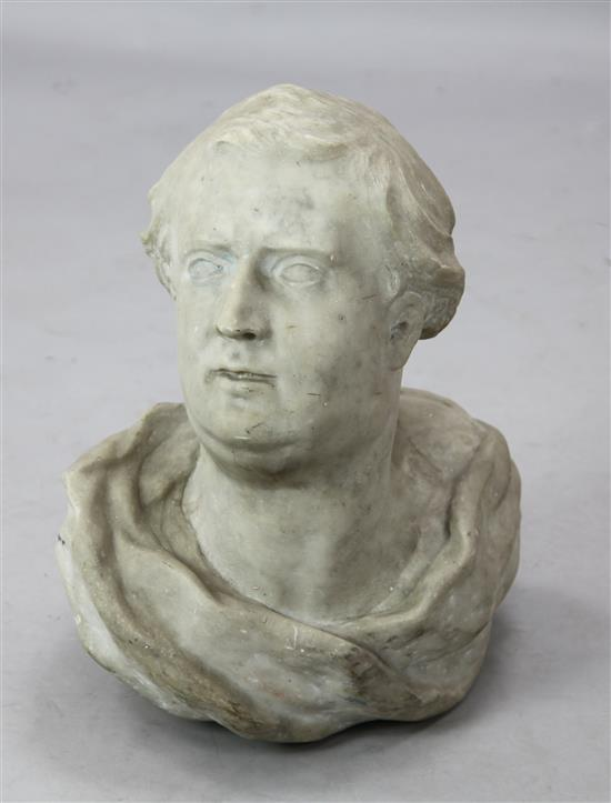 A late 18th century carved white marble bust of a gentleman, 18.5in.