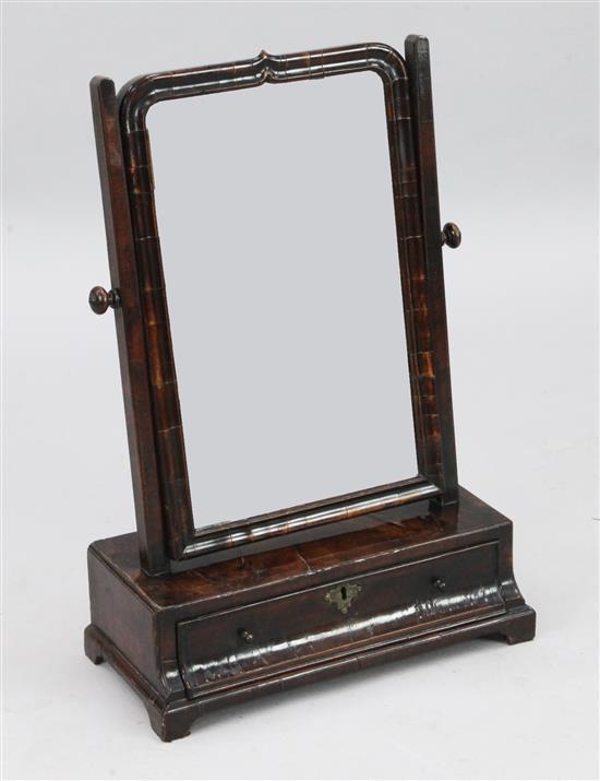 A George II walnut toilet mirror, W.1ft 6in. H.2ft 2in.