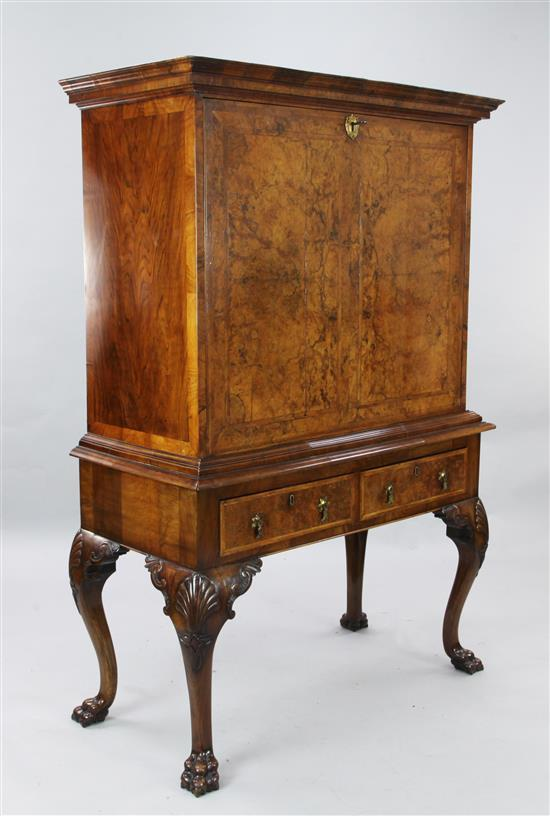 A 17th century style figured walnut secretaire à abattant, W.3ft 9in. D.1ft 8in. H.5ft 3in.