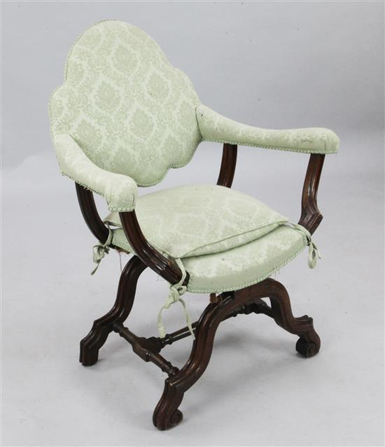A 17th century style walnut X frame armchair, W.2ft 5in. H.3ft 2in.