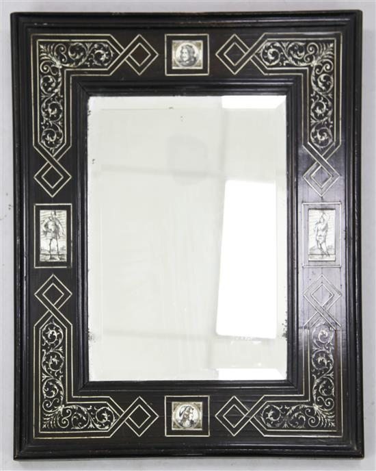 A 17th century Flemish style ivory inlaid ebonised wall mirror, W.1ft 6in. H.1ft 10in.