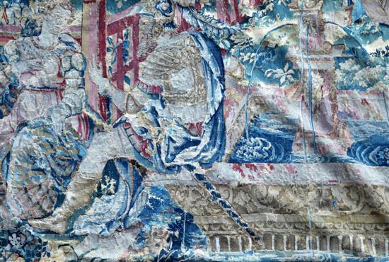 A 17th century tapestry fragment, W.3ft 4in. H.4ft 9in.