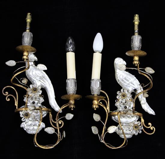 A pair of 17th century style gilt metal mounted rock crystal wall lights, H.16in.