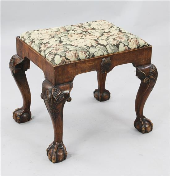An early 18th century style mahogany dressing stool, W.1ft 11in. D.1ft 7in. H.1ft 7in.