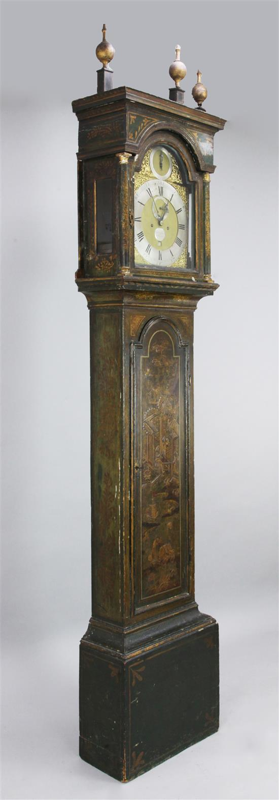 Jethro Tull of Newbery. An early 18th century eight day longcase clock, 8ft
