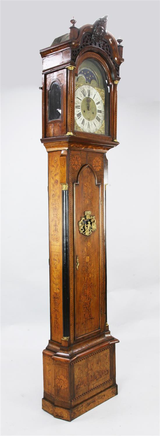 Pieter Evers of Amsteldam. A mid 18th century Dutch marquetry inlaid eight day longcase clock, 8ft