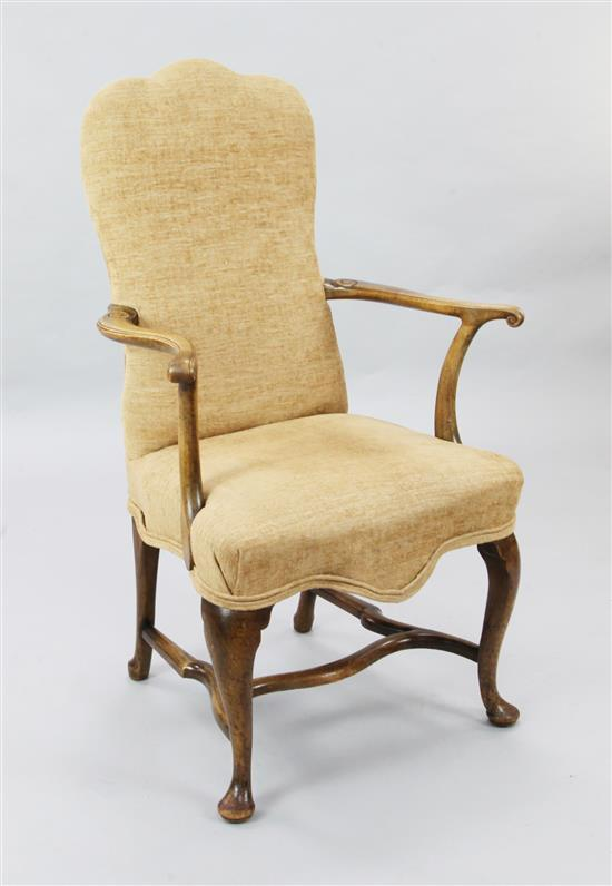 A George I style walnut elbow chair, W.2ft 3in. H.3ft 9in.