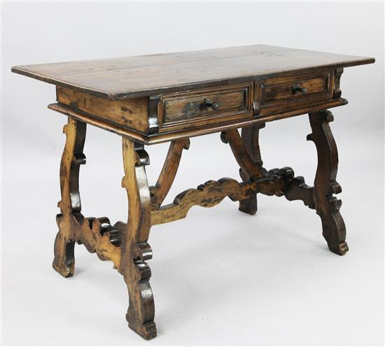 A 17th century Spanish walnut side table, W.4ft 1in. D.2ft 2in. H.2ft 8in.