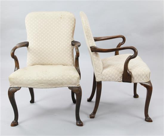A near pair of George I style walnut elbow chairs, W.2ft H.3ft