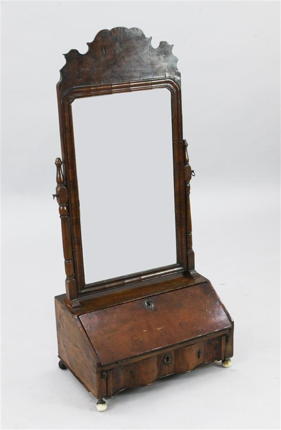 An early 18th century walnut toilet mirror, W.1ft 6.5in. H.3ft 4in.
