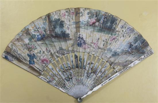 A chinoiserie painted ivory and paper leaf fan, mid 18th century, 47.5cm, repairs and faults