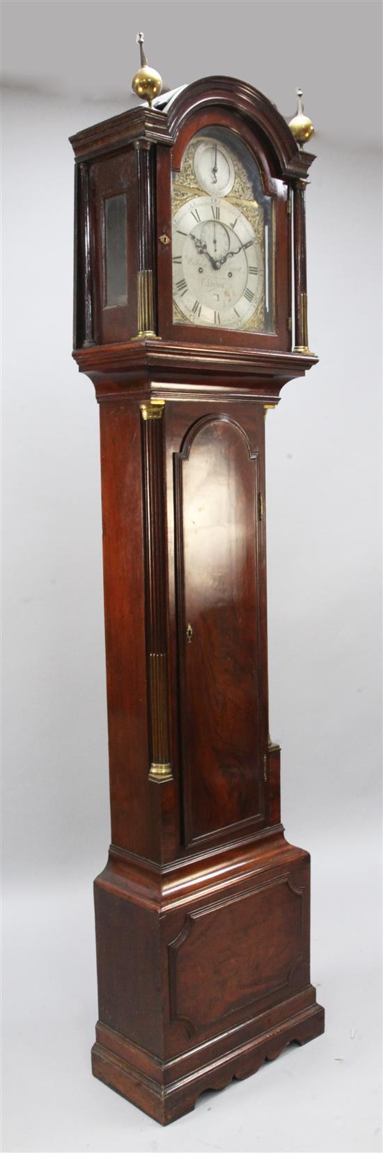 William Jarrett of London. A George III mahogany eight day longcase clock, H.7ft 5in.