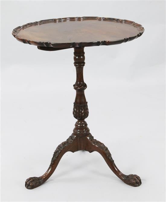 A George III mahogany tripod table, W.2ft H.2ft 5in, associated top
