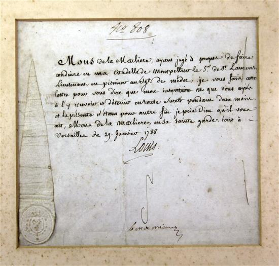A Louis XVI signed letter, dated 29th January 1788, 19 x 21cm