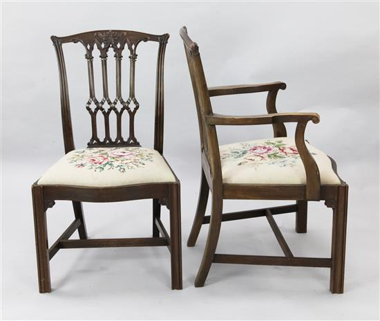 A set of twelve Chippendale style mahogany dining chairs, carver W.2ft 1in. H.3ft 3in.