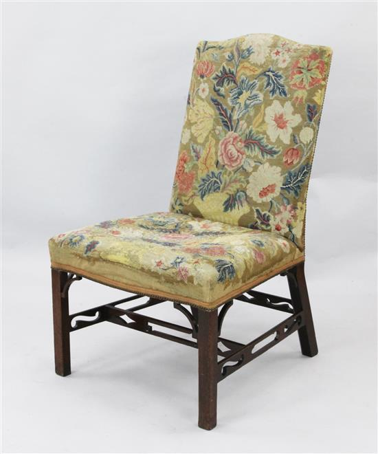 A George III mahogany salon chair, W.2ft 1in. H.3ft 4in.