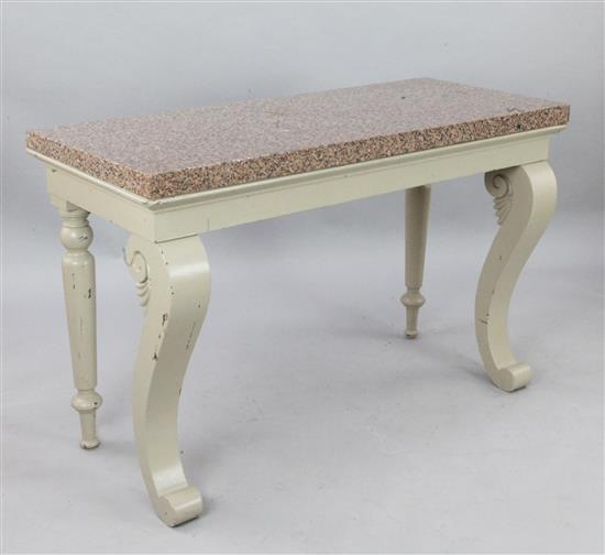 An Adam style painted mahogany console table, W.4ft 6in. D.1ft 11in. H.2ft 11in.