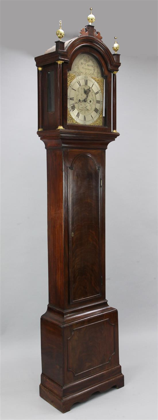 William Carter of Hampstead. A George III mahogany eight day longcase clock, 7ft 7in.
