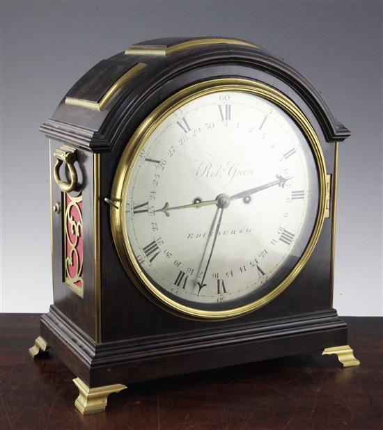 Robert Green of Edinburgh. A George III brass mounted ebonised bracket clock, 15in.