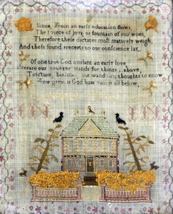 A George III needlework sampler, 13.75 x 11in.