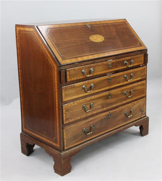 A George III inlaid mahogany bureau, W.3ft 3in. D.1ft 9in. H.3ft 5in.
