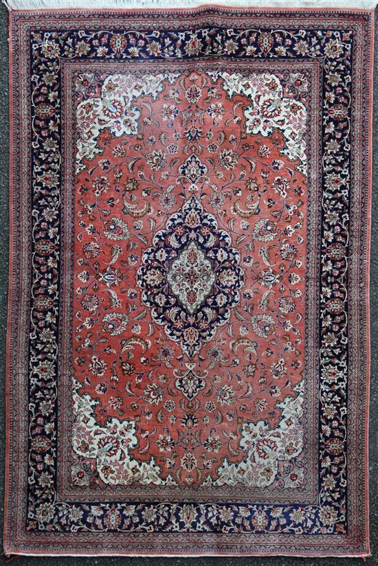A Persian silk rug, 6ft 7in by 4ft 6in.