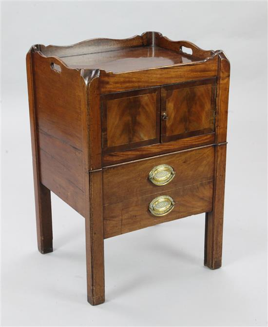 A George III mahogany tray top commode, W.1ft 7in. D.1ft 5in. H.2ft 7in.