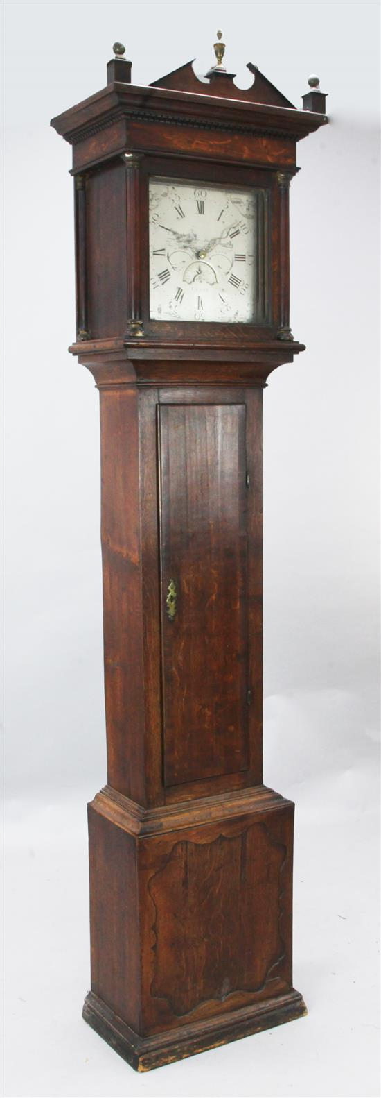 William Clark of Cerne. A George III oak thirty hour longcase clock, 7ft