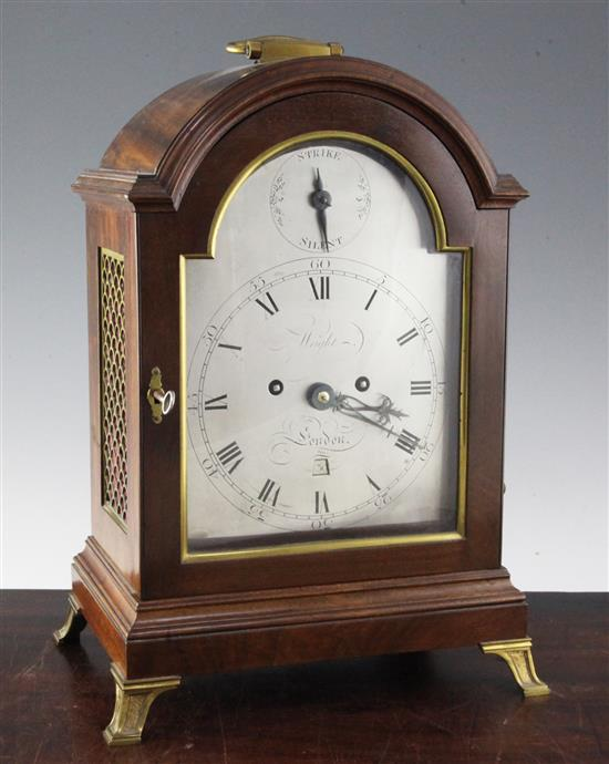 Wright of London. A George III mahogany hour repeating bracket clock, 16in.