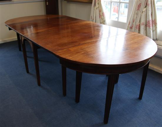 A George III mahogany D end extending dining table, Extended 9ft x 4ft H.2ft 3in.